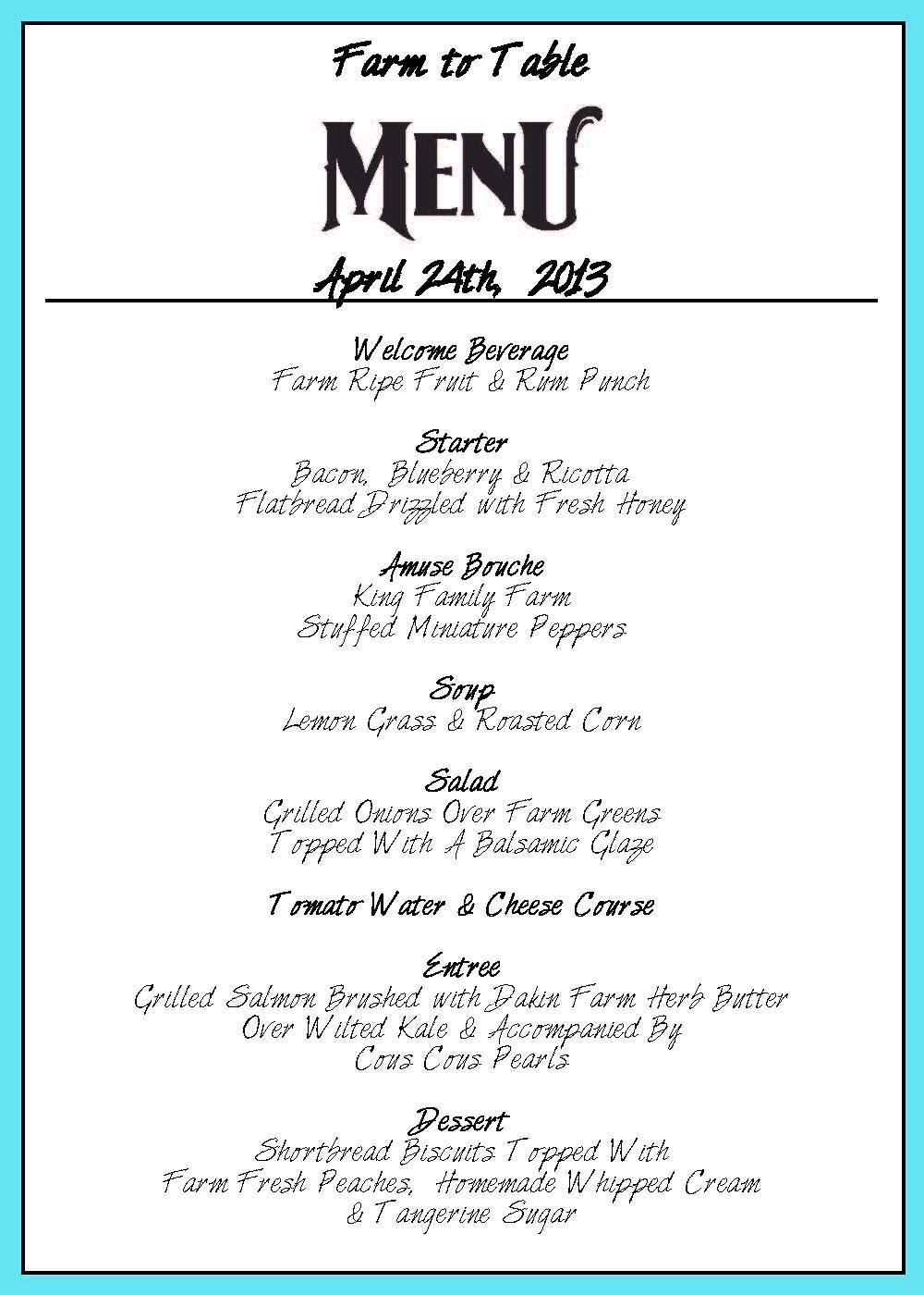 Menus Table To Farm - Table 24 menu