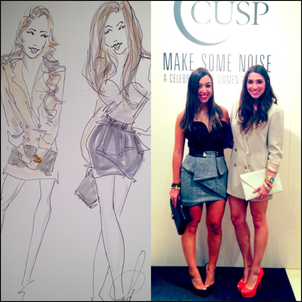 A fabulous drawing of my LaLa Bella partner in crime, Maria Jose Padgett, and I !