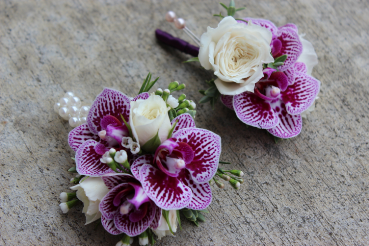 corsage boutonniere purple wedding flowers sophisticated floral designs portland oregon