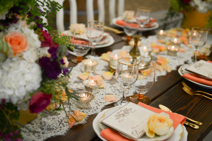peach coral gold wedding table setting sophisticated floral classic vintage rentals oregon golf club