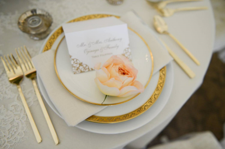 peach coral gold wedding table setting sophisticated floral designs oregon golf club classic vintage rentals