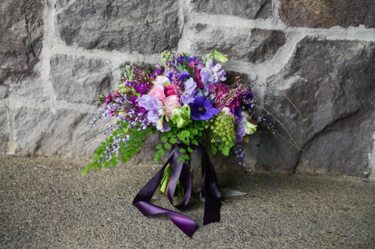 purple lavender spring bridal bouquet sophisticated floral portland oregon wedding florist
