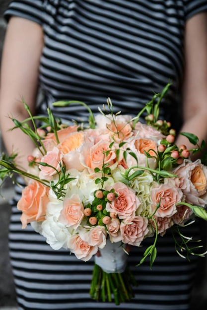 peach coral bridal bouquet sophisitcated floral portland oregon wedding florist