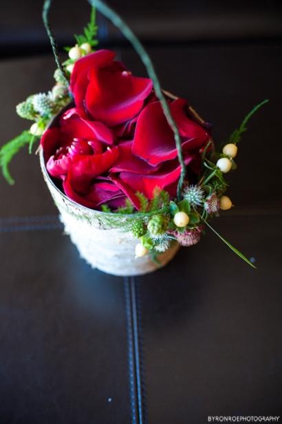 flower girl basket with petals rustic birch wood sophisticated floral designs portland oregon