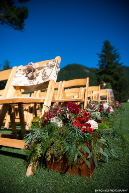 red gold wedding flowers aisle decor wine box rustic elegance sophisticated floral designs portland oregon wedding florist