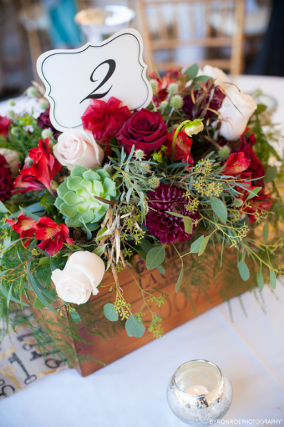 red rustic centerpiece table flowers sophisticated floral