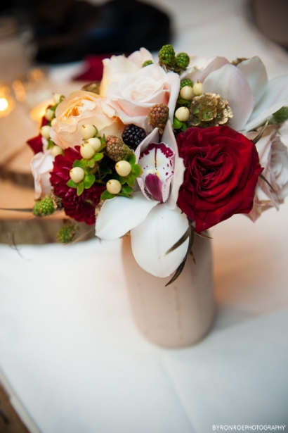 bridesmaid bouquet red and gold sophisticated floral wedding florist portland oregon