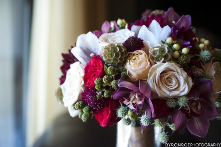 wedding bouquet red gold sophisticated floral portland oregon