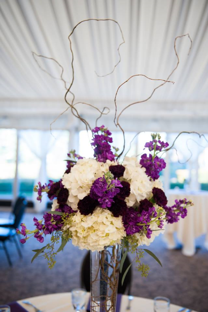tall elevated purple centerpiece purple oregon golf club