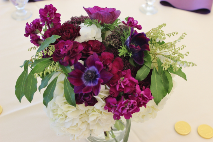short purple centerpiece sophisticated floral designs oregon gold club flowers