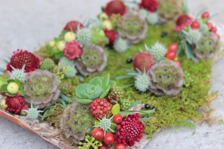 sophisticated floral designs portland oregon wedding florist boutonnieres red gold marsala succulent