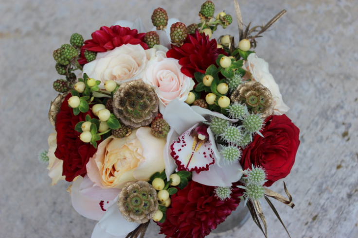bridesmaid bouquet red white gold sophisticated floral portland oregon wedding florist