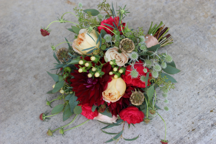 gold red sophisticated floral wedding florist portland oregon red gold flowers