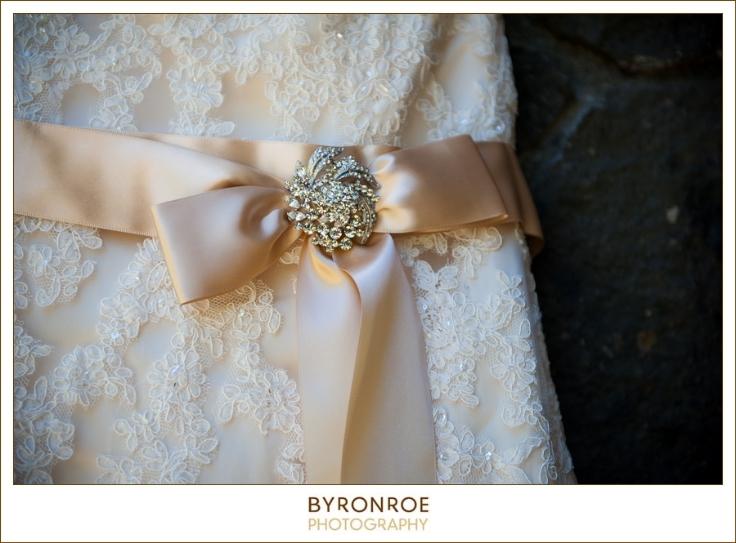 champagne dress gold sash lace