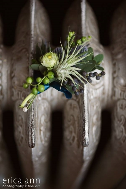 air plant boutonniere teal navy blue flowers sophisticated floral designs portland oregon wedidng florist
