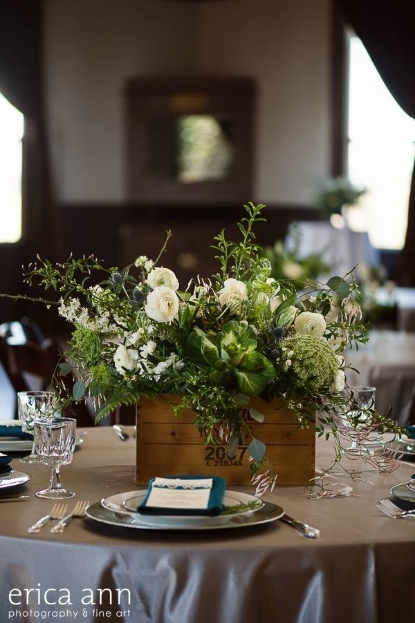 rustic wine box centerpiece garden style wedding flowers sophisticated floral designs portland oregon wedding florist