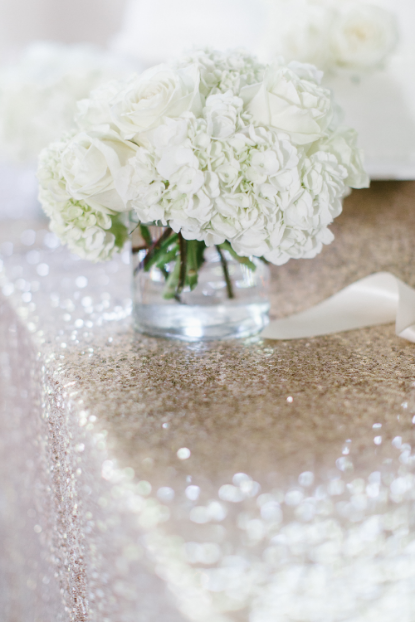 gold sequin linen white flowers centerpiece sophisticated floral designs portland oregon wedding florist