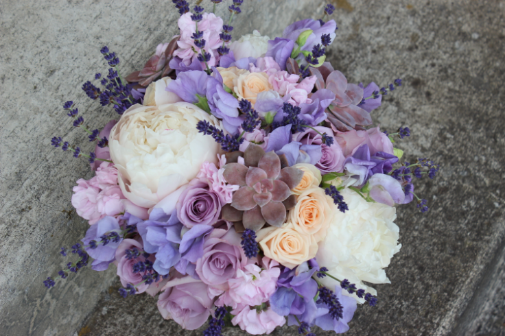 peach lavender bridal bouquet with pennies and succulents sophisticated floral designs portland oregon wedding florist