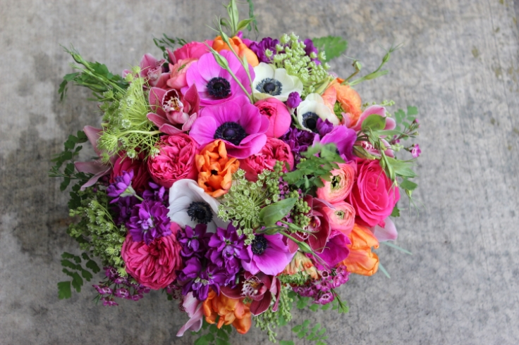 hot pink orange and purple bouquet sophisticated floral designs portland, oregon