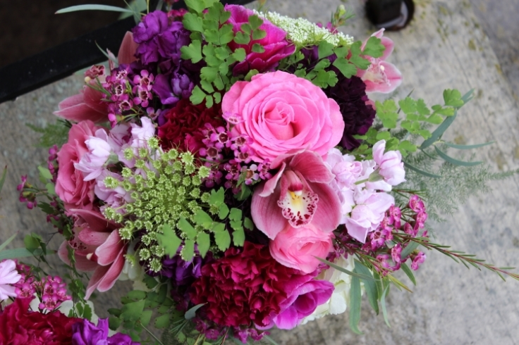 garden bouquet in bold colors hot pink purple sophisticated floral designs portland oregon wedding florist
