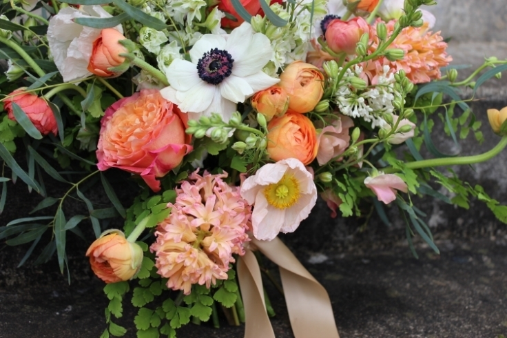 peach coral wedding flowers bouquet sophisticated floral designs portland oregon