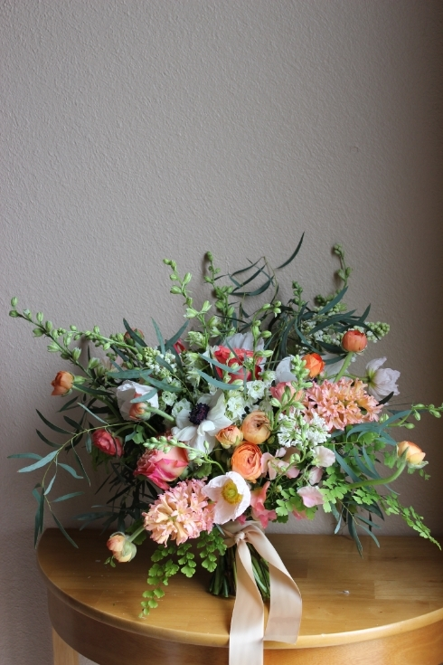 peach coral bouquet sophisticated floral portland oregon