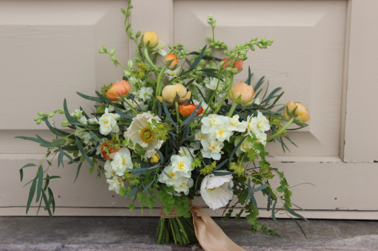 peach coral wedding bouquet sophisticated floral portland oregon wedding florist