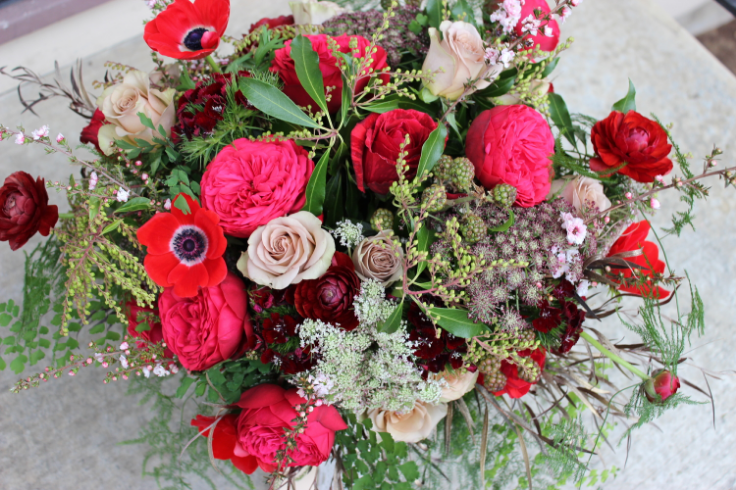 red marsala bridal bouquet sophisticated floral designs portland oregon