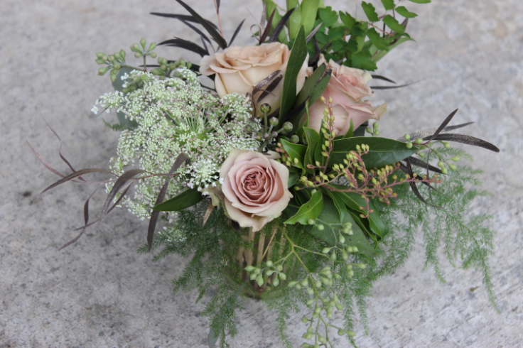 tan rose gold centerpiece sophisticated floral designs portland oregon