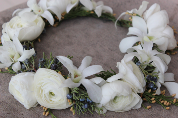 white winter floral crown sophisticated floral designs portland oregon