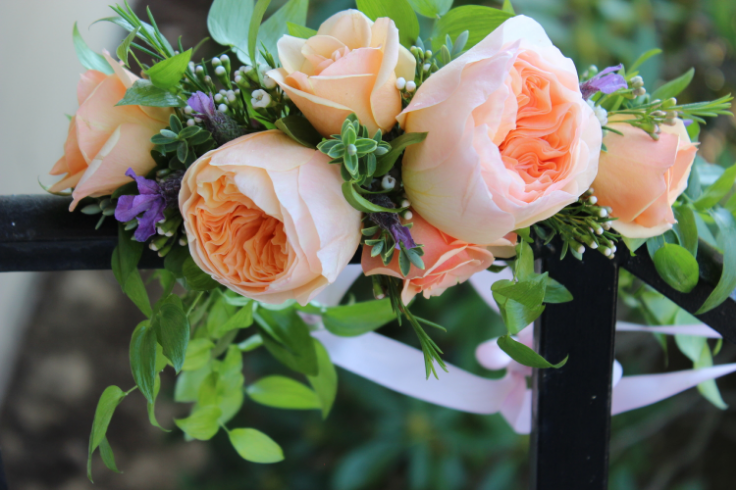 lavender and peach garden rose floral crown garden style