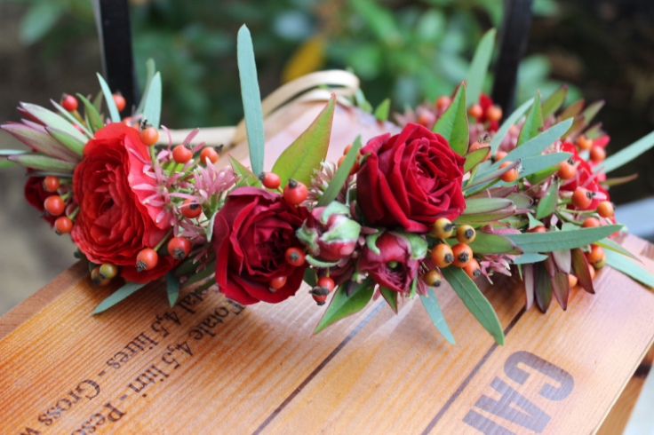 red orange fall floral crown sophisticated floral designs portland oregon