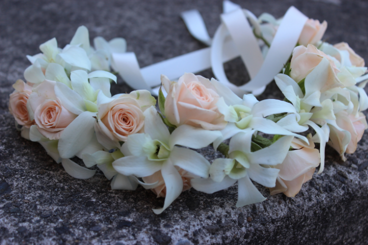 blush pink flower crown with roses and orchids