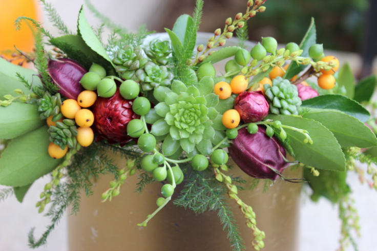 plum and gold floral crown sophisticated floral designs portland oregon florist