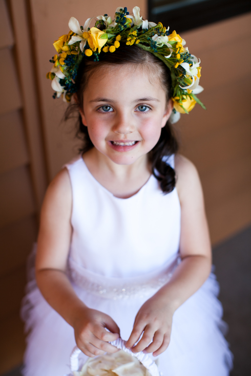 yellow floral crown flower girl wedding flowers