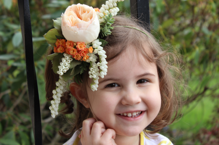 peach garden rose flower crown flower girl