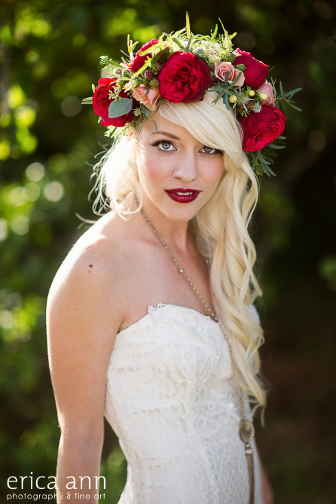 red marsala garden rose floral crown vintage rustic