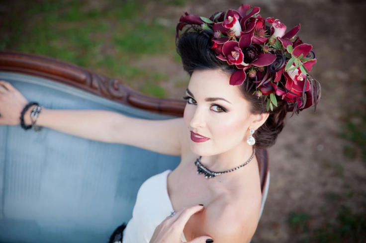 red burgundy marsala wedding crown with flowers sophisticated floral designs portland oregon wedding florist