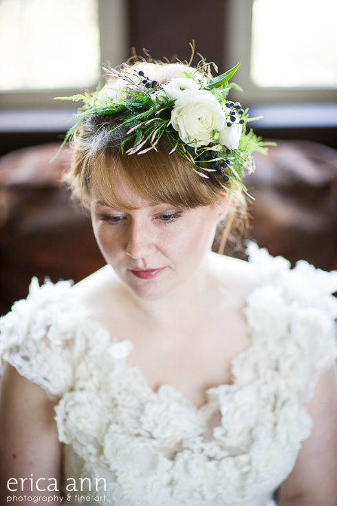 green and white floral crown with jasmine vine and ranunculus privet berry