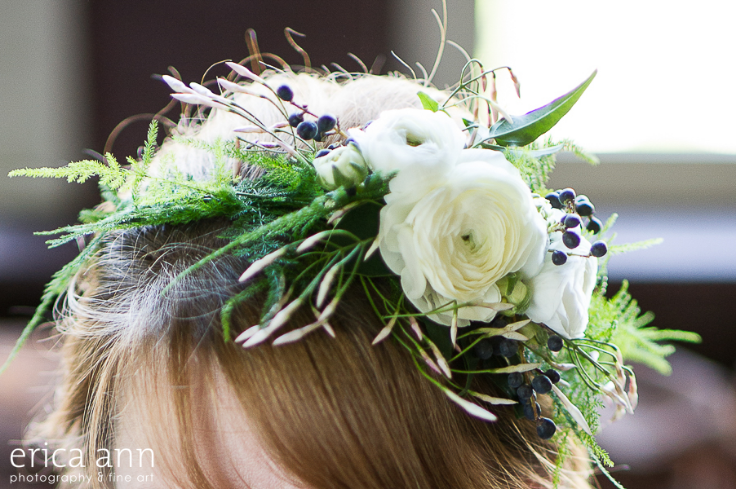 navy and white floral crown with ranunculus