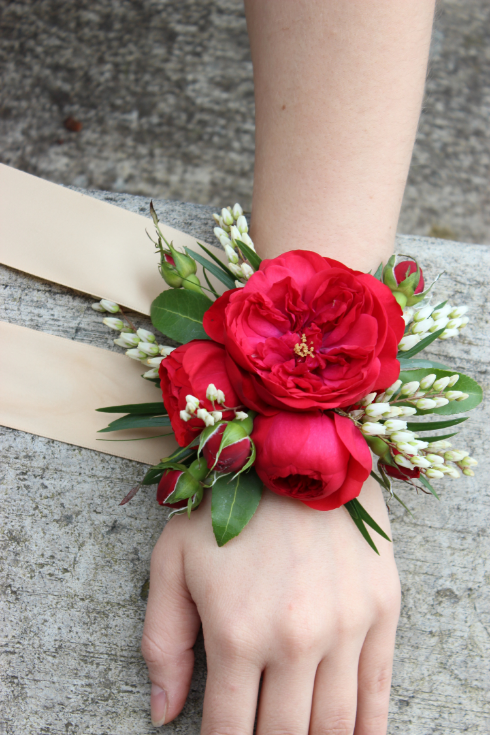 red garden rose floral corsage wedding flowers