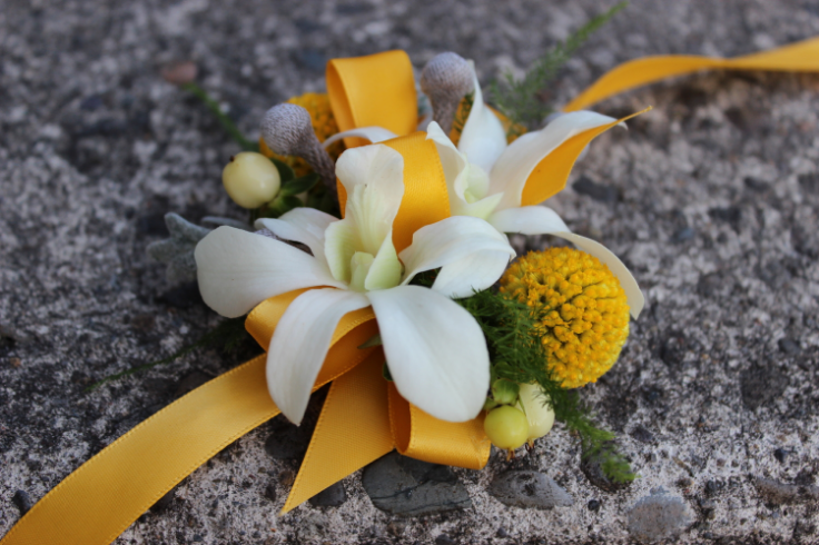yellow and gray wedding flowers wrist corsage billy balls