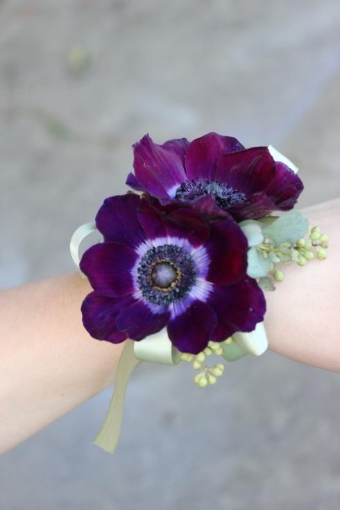 plum anemone wrist corsage wedding flowers