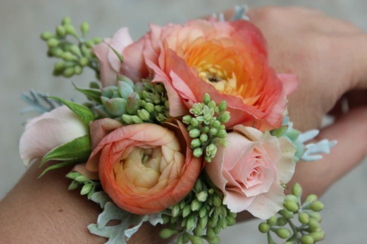 peach coral ranunculus wrist corsage with succulents