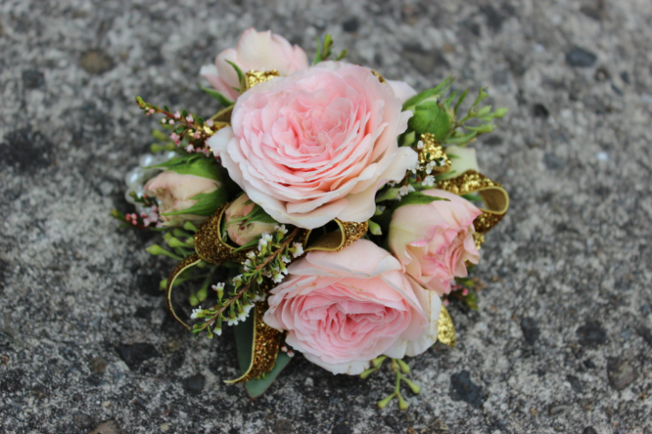 blush pink garden roses wrist corsage pink and gold