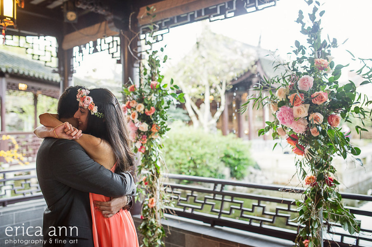 garden style floral backdrop proposal portland engagement