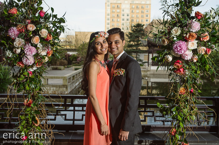 floral backdrop garden style portland proposal engagement sophisticated floral designs