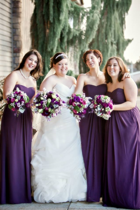 bride and bridesmaids bouquets purple flowers sophisticated floral designs