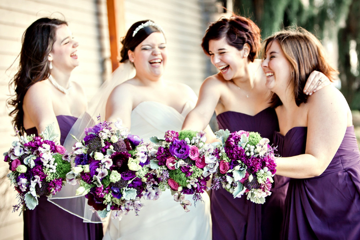 bridal party purple flowers sophisticated floral designs bouquets