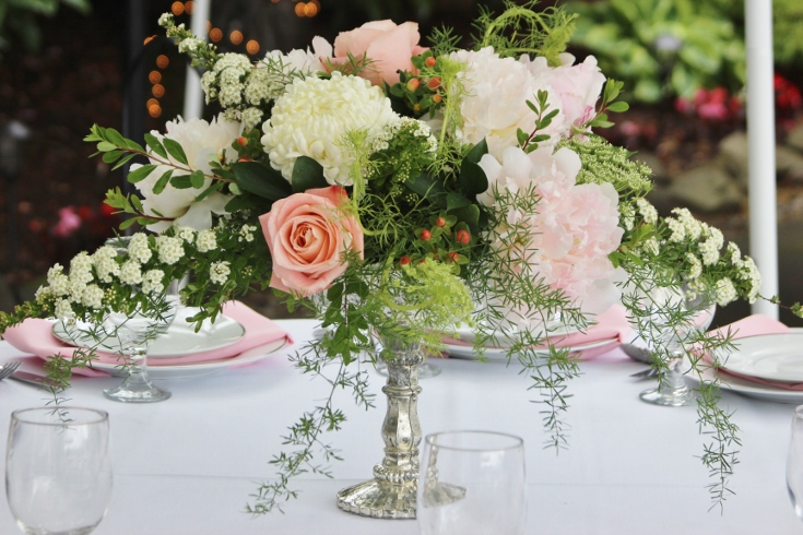 wedding centerpiece flowers garden style compote floral arrgement with peonies sophisticated floral